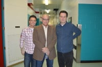John Landecker in the WGN-TV hallways with the talented duo of Jeff Hoover and Mike Toomey