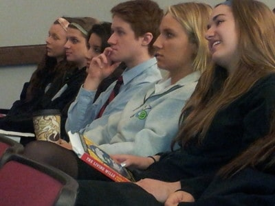 Marist students listening to Brendan