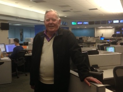 Joel in Channel 7 newsroom